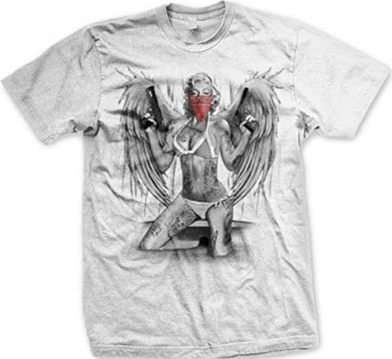 85b3158d6982 Image Unavailable. Image not available for. Color: Marilyn Monroe Gangster  Wings Tattoos Men's T-shirt ...