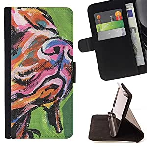 Momo Phone Case / Flip Funda de Cuero Case Cover - Hocico Hocico de perro Arte Pintura colorida; - Samsung Galaxy S3 MINI 8190