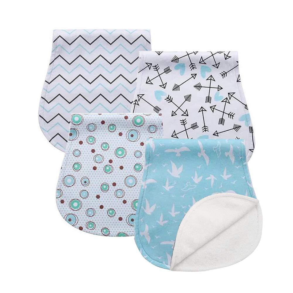 K002 Baby Burp Cloths Set Baby Burp Bibs 4-Pack Feeding Nursing Towel Accessory Burping Rags for Newborns,Organic Cotton,Baby Shower Gift for Boys and Girls