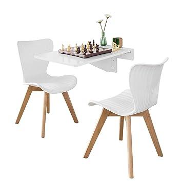 SoBuy Set de 1 Mesa Plegable de Pared y 2 sillas de Comedor, FWT04-W+FST62-WX2,ES (Mesa+Silla)