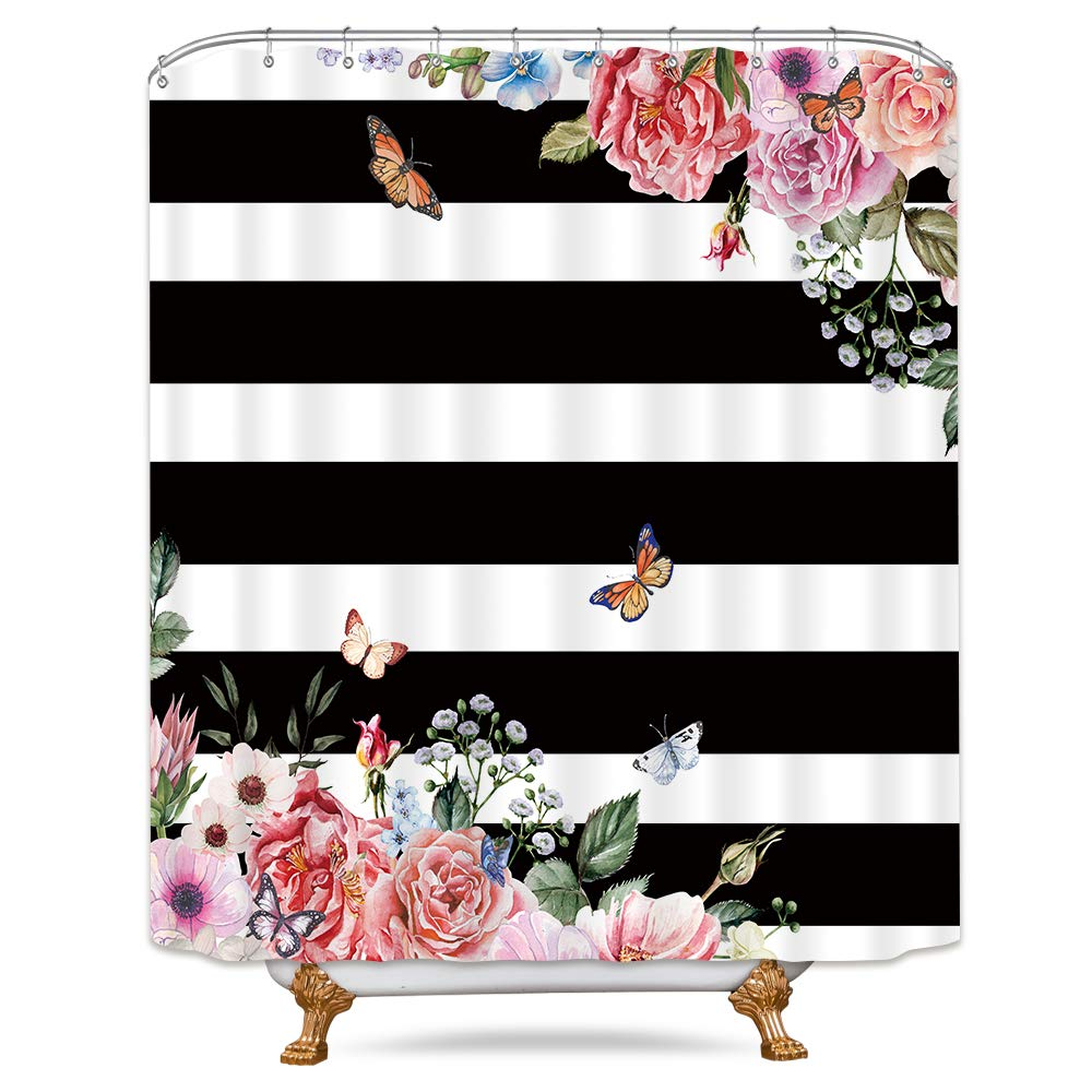 Riyidecor Black and White Floral Striped Shower Curtain Weighted Hem Pink Flower Peony Blooming Herbs Spring Decor Fabric Bathroom Set 72x72 Inch for Bathtub with 12-Pack Plastic Shower Hooks