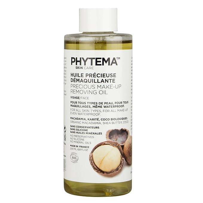 Phytema - Aceite desmaquillante orgánico (200 ml, aceites vegetales 100% orgánicos, aceite de coco, macadamia, karité, sin conservantes ni parabenos): ...