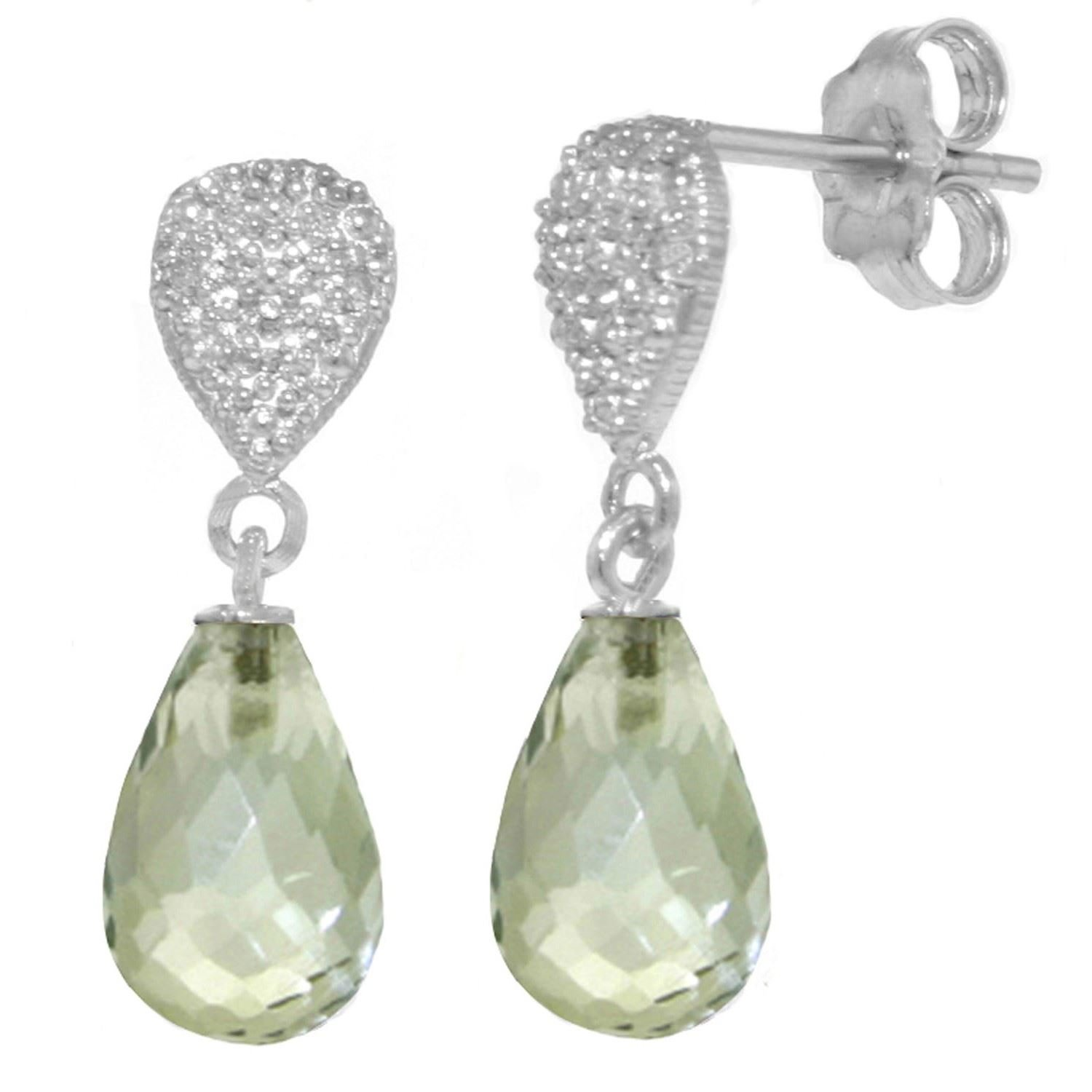 ALARRI 4.53 Carat 14K Solid White Gold Love Of All Loves Green Amethyst Earrings