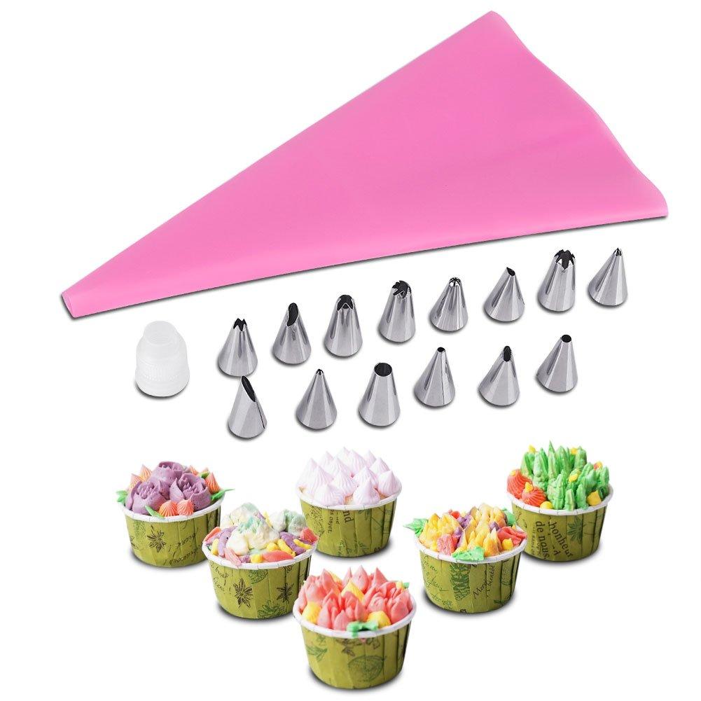 16Pcs Cake Decorating Icing Piping Nozzles Tips Pastry Cupcake Sugarcraft & Icing Piping Bag DIY Pastry Fondant Baking Tool(Blue) GLOGLOW