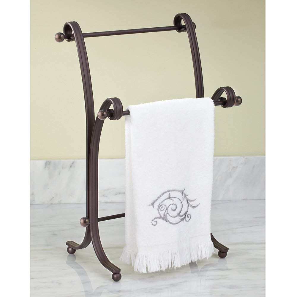 Amazon.com: InterDesign York Lyra Fingertip Hand Towel Rack U2013 Free Standing  Bathroom Vanity Towel Holder/Dryer, Split Bronze: Home U0026 Kitchen