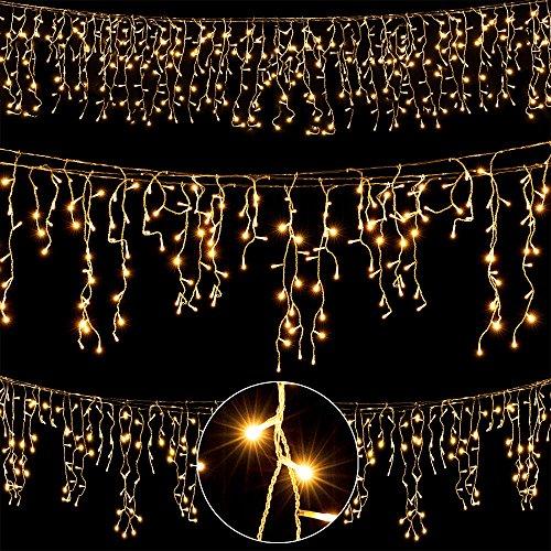 200 LED Lichterkette innen + außen Weihnachtslichterkette Weihnachten X-Mas Regenkette Lichtervorhang Eisregen