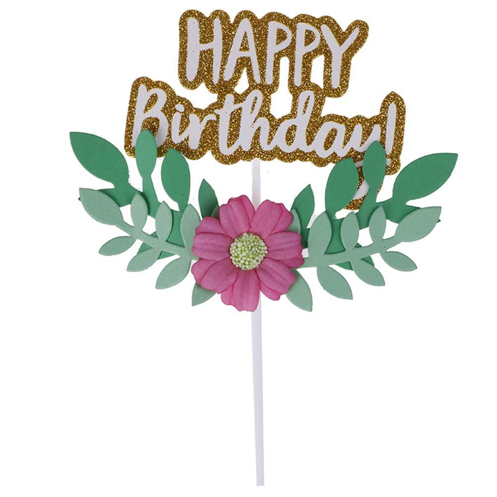 Dessert Stand Baking Cupcake Decor Happy Birthday Flower Green Leaf Cake Topper