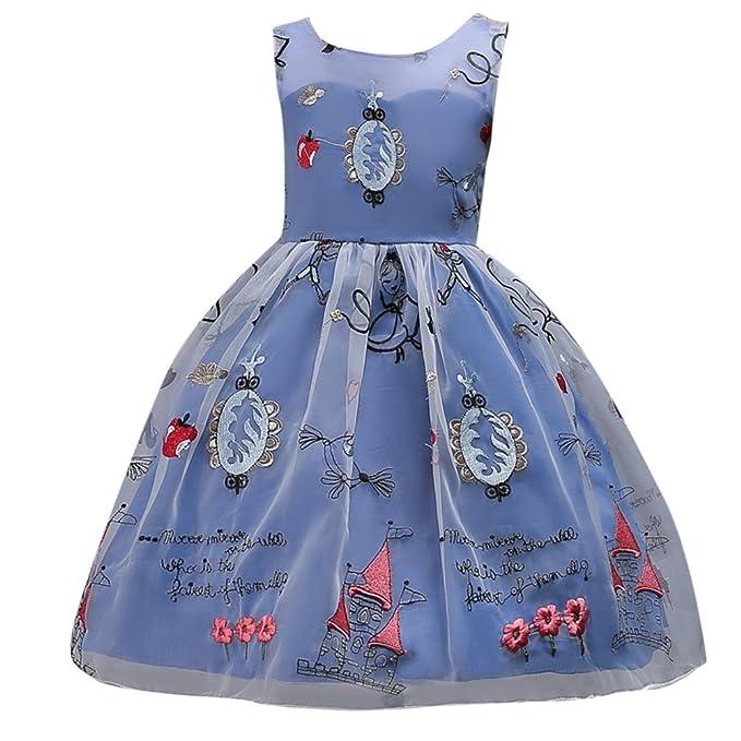 Vestido Estampado de Niñas Tul Vestidos para niños Imprimir Princesa Sin mangas Cóctel Vestido Azul 110