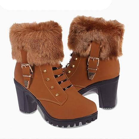 ❤ Botas de tacón Alto de Las Mujeres Botas Cortas, Moda Mujer de tacón Alto la Mitad Botines Cortos Invierno cálido Tacones Botas Zapatos Absolute: ...