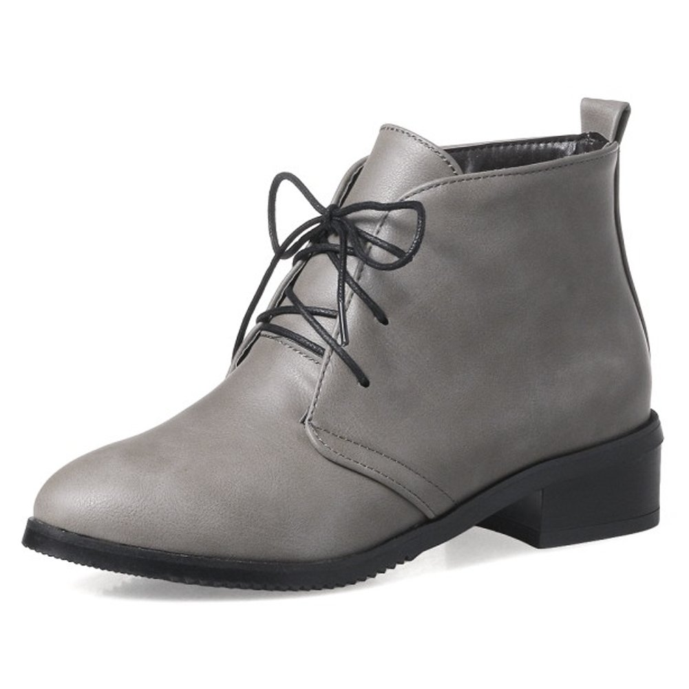 Amazon.com | QZUnique Women Lace-Up Casual Ankle Booties Low Heel PU  Surface Martin Boots | Boots