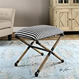 24'' Navy Blue and White Striped Rustic Iron w/ Rope Accent Small Cushioned Bench