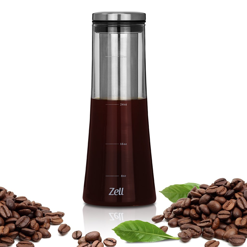 Zell Cold Brew Coffee Maker | Premium Borosilicate Glass| Fine Mesh Stainless Steel Filter | Perfect for Iced Coffee, Iced Tea or Fruit Infused Water | 1 Quart (1000 ml) by Zell