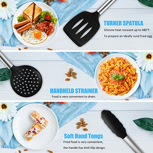 FLIER Silicone Cooking Utensils + Utensil Crock –9 Packs Silicone Kitchen Utensils - Heat-Resistant No-Stick Kitchen Utensil Sets – Silicone & Stainless Steel Kitchen Tools Gadgets by FLIER (Image #3)