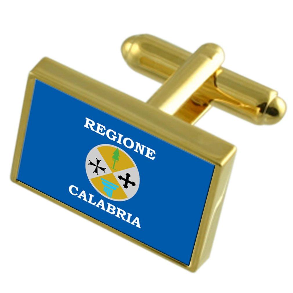レッジョカラブリアイタリアゴールドフラグ Cufflinks 刻まれたボックス   B0724ZSVB5