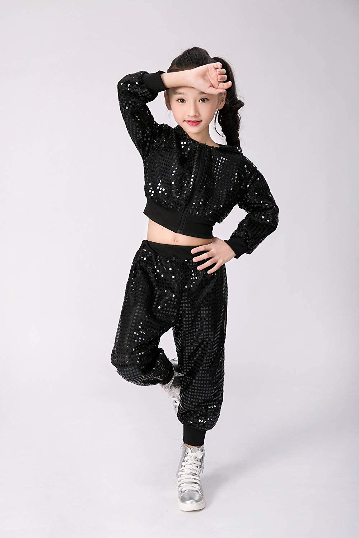 d2a0061accb8 Amazon.com  Children Girls Sequins Hip hop Costume Street Dance ...