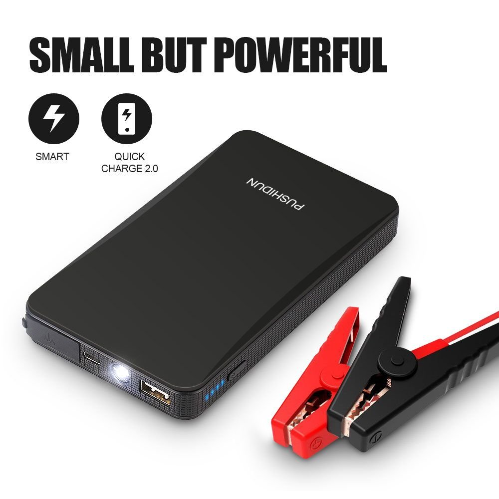 Portable Car Jump Starter Kit 6000mAh 400A Peak (Up to 2.5L Gas Car) Ultra-thin Mini Auto Battery Booster Jumper Emergency Power Pack with Smart Charging Port & LED Flashlight in 3 Modes.