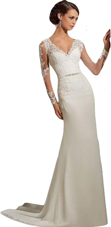 WeWind Damen Langarm Brautkleid V-Ausschnitt Hochzeitskleid Spitzen und  Tüll Brautmode Schleppe Etui