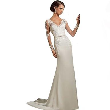 WeWind Damen Langarm Brautkleid V-Ausschnitt Hochzeitskleid Spitzen ...