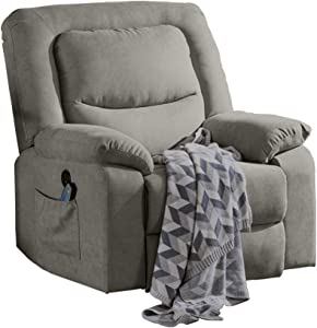 USSerenaY Overstuffed Electric Recliner Chair - Microfiber Recliner Chair - Recliners with Massage and Heat - Reclining Sofa with USB Charge Port for Home Theater Seating, Living Room, Bedroom (Beige)