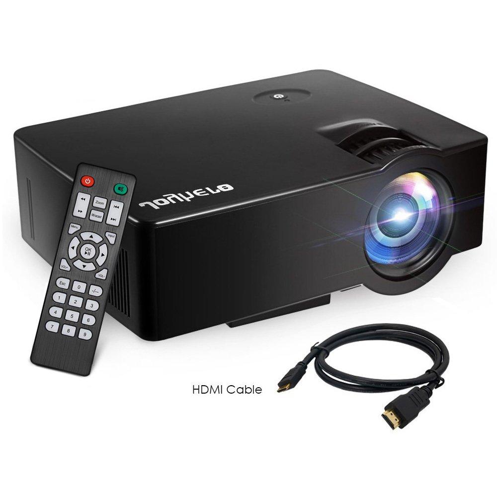 Joyhero - Proyector de cine en casa portá til (E80, 2500 lú menes, LCD 800 x 480 pí xeles, 1080P HD, compatible con PS4, XBOX, HDMI/TF, ranura para tarjetas, USB, VGA) 204115704-FSR-UK
