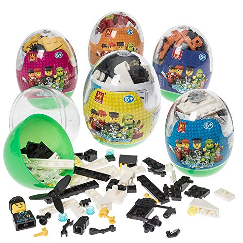 yuboo Easter Eggs, 6-Pack Large Prefilled Plastic Eggs,Kids' Toys Filled with Different Building Bricks to Build Various Vehicles