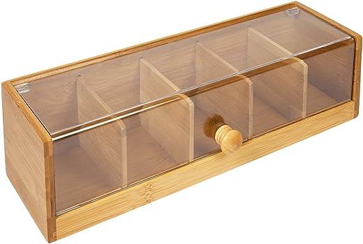 woodluv. Caja de 5 compartimientos para bolsitas de té en bambú ...