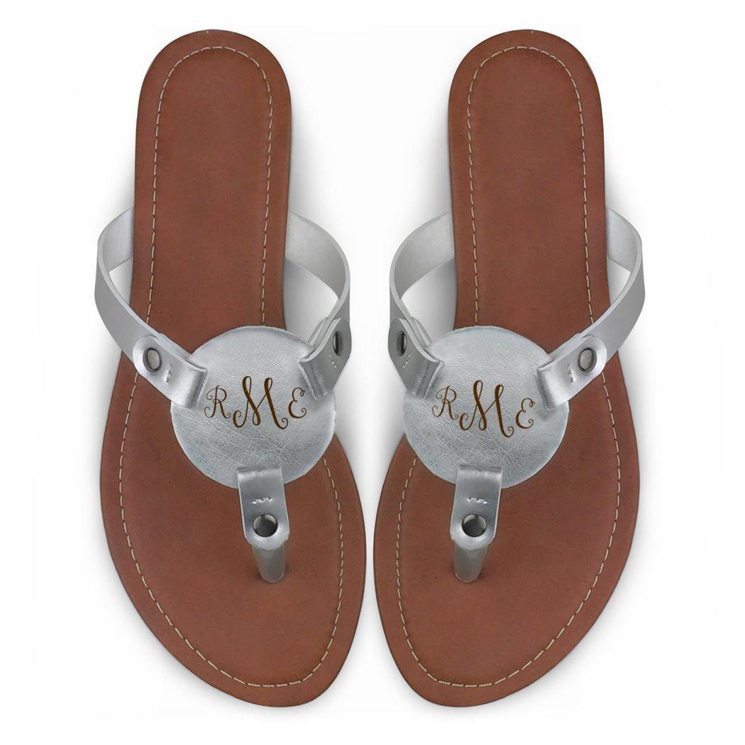 ac9377d601b19 ChalkTalkSPORTS Women's Personalized Monogram Thong Sandal | Engraved  Metallic Silver Flip Flop | Multiple Sizes