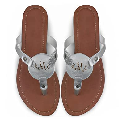 62d0026145be1 ChalkTalkSPORTS Women's Personalized Monogram Thong Sandal | Engraved  Metallic Silver Flip Flop | Women's ...