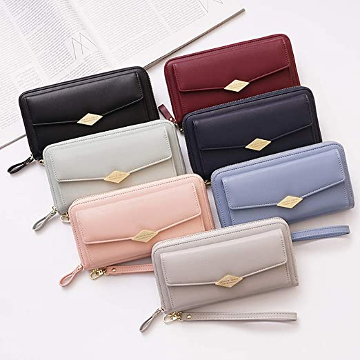 Long Wallet Women Purses Fashion Coin Purse Card Holder Wallets Female Clutch Money Bag PU Leather at Amazon Womens Clothing store: