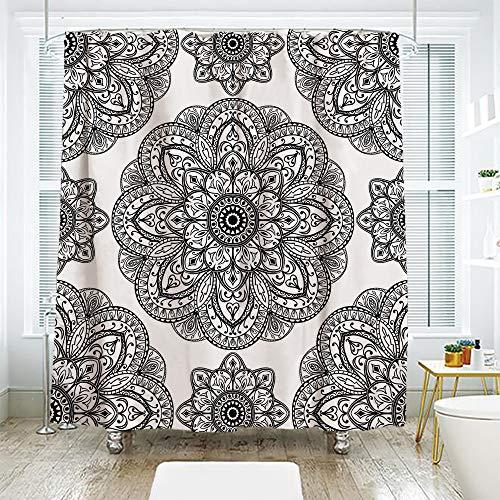 - scocici Bath Curtain Suit Bathroom Waterproof Curtain Bath Curtain,Mandala Decor,Ornate Pattern of Mandala with Symmetrical Shape and Tiles Arabesque Persian Image,Black,78.7