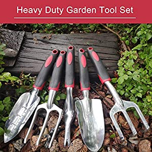 FANHAO Garden Tool Set, 5 Piece Aluminum Heavy Duty Gardening Gifts Tool Set with Non-Slip Rubber Grip for Men and Women (Black/Red) (Color: Black/Red, Tamaño: 5 Piece)