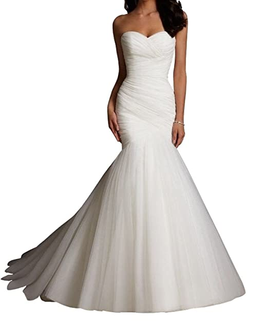 lydiags color blanco para vestidos de novia de sirena de tul vestido boda fiesta Blanco blanco