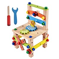 Ackful🍁Wooden Disassembly Chair Tool Assembly of Nuts Chair Children's Puzzle Toys (Khaki)