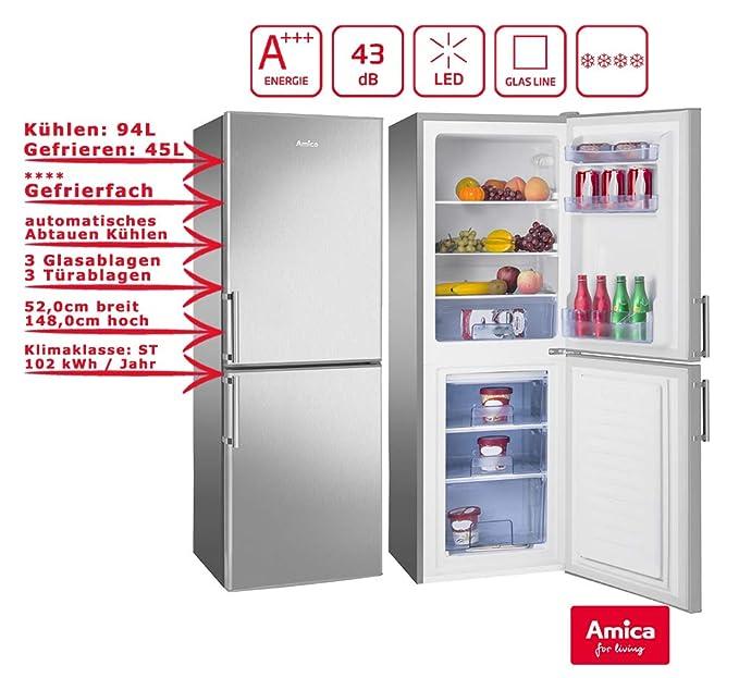 Refrigerador Amica con aspecto de acero inoxidable 139L A+++ 148 ...