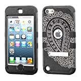 iPod touch 5th 6th Generation Black Case 3-Piece Style Hybrid Hard Case Cover for Apple- For Girls And Boys-Shockproof Dustproof with Stand (Paisley Black)