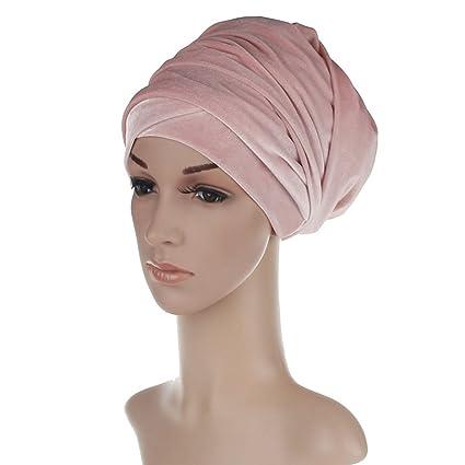 Butterme Invierno Luxury Terciopelo Doblado Headwrap Turban Jersey Hijab Head Wrap para Mujer(Rosa claro
