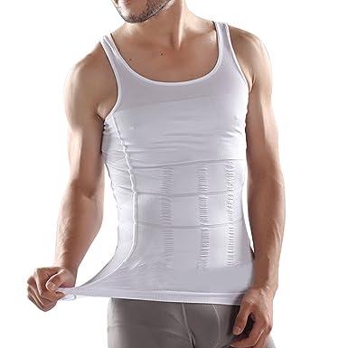 Bauchweg Maenner Herren Shapewear bodyshaping Shirt Koerperformer Unterhemd  Hemd for Sportman Weiss L 2bdba7699c
