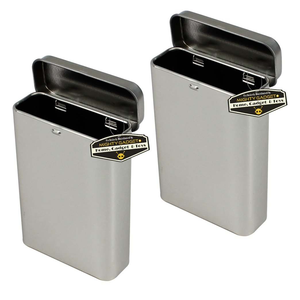 Mighty Gadget (R) Empty Vertical Hinged Lid Survival Tin Container for Geocaching or Survival Gear (2 Pack)