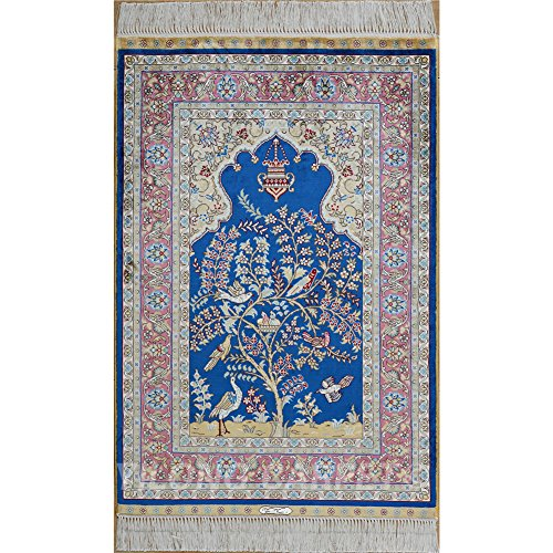 Yilong 2'x3' Handmade Silk Rug Oriental Persian Prayer Rug Tapestry Hand Knotted Home Wall Hanging Carpet (2 Feet by 3 Feet, Blue) 1162 - Persian Silk Tapestry