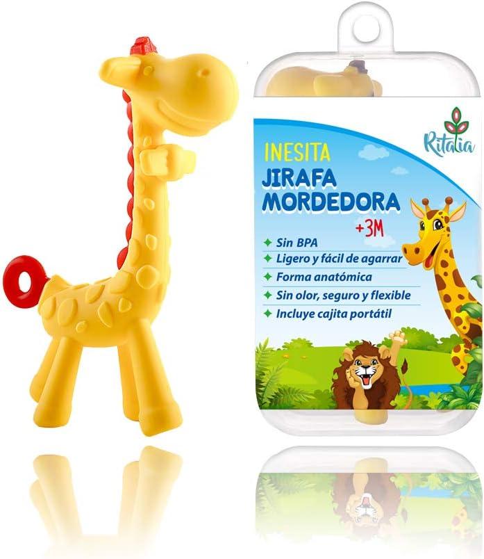 Inesita la jirafa mordedora. Juguete con caja regalo. Mordedor Ritalia. Juguete para bebes, libre de BPA, 100% natural y orgánica.