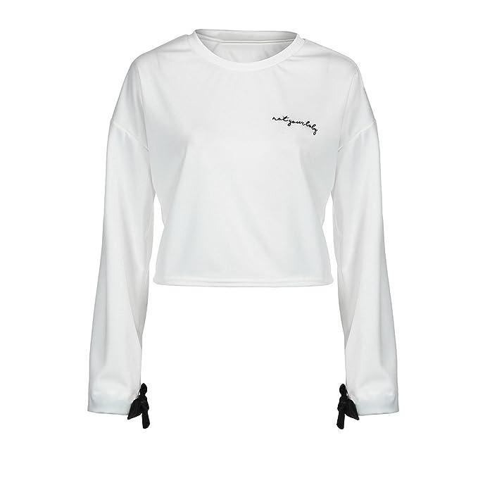 db40b78e1553 Elecenty Tops Kurz Bluse Damen Pulli T-Shirt Pullover Frauen Langarm Hemden  Bandage Hemd Pullover