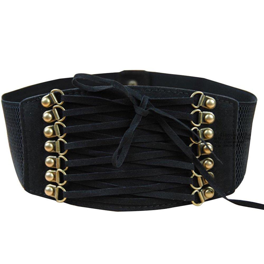 BEETEST Moda mujeres señoras correa elástica ajustable hebilla cinturones corsé Cinch pretina Negro