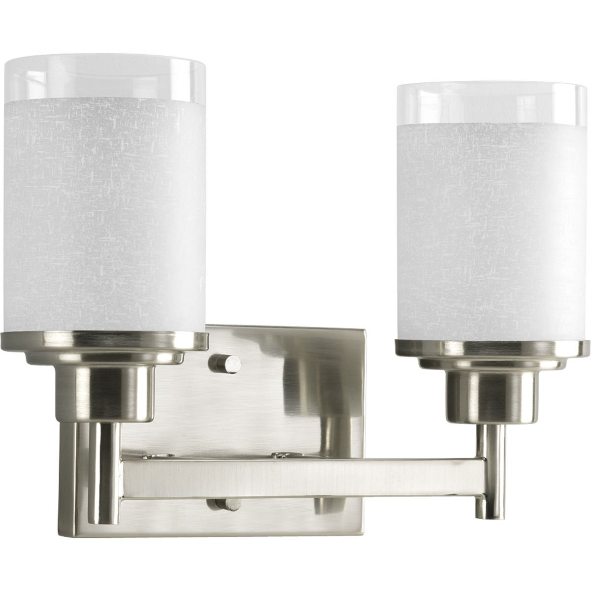Progress Lighting P2977 09 2 Light Wall Bracket With White Linen