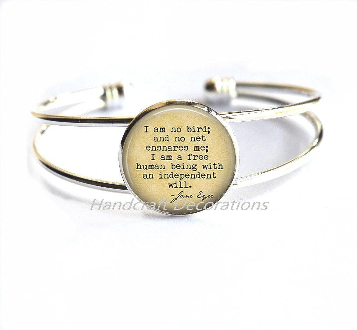 I Am No Bird; And No Net Ensnares Me Literary Book Quote Bracelets Bracelet,photo jewelry art jewelry glass jewelry.F288