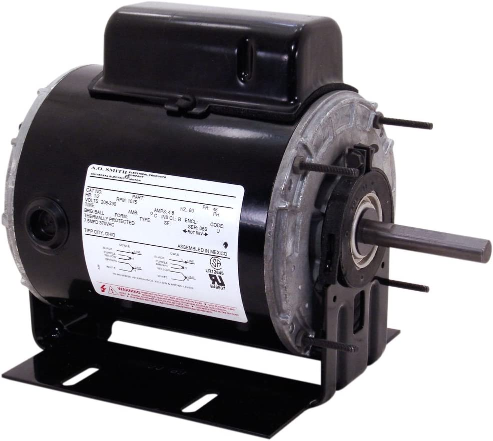 A.O. Smith C046A 1/3 HP, 1100 RPM, 1 Speed, 115/230 Volts, 6.5/3.25 Amps, 1 Service Factor, 48Z Frame, Auto Protector, TEAO Enclosure Farm Duty Motor
