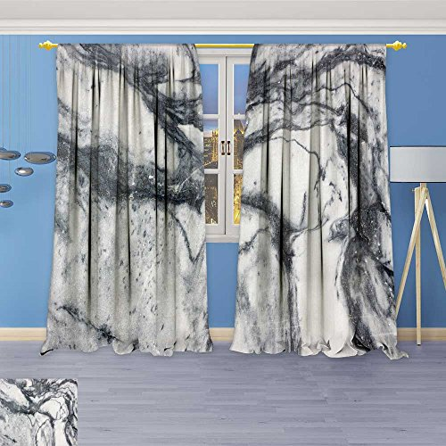 SOCOMIMI Antique Decor Collection,Marble Texture Marble Wallpaper Background Texture,Living Room Bedroom Curtain 2 Panels Set, 84W x 72L -