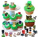 36 Minecraft Figure Cupcake Toppers And Temporary Tattoos