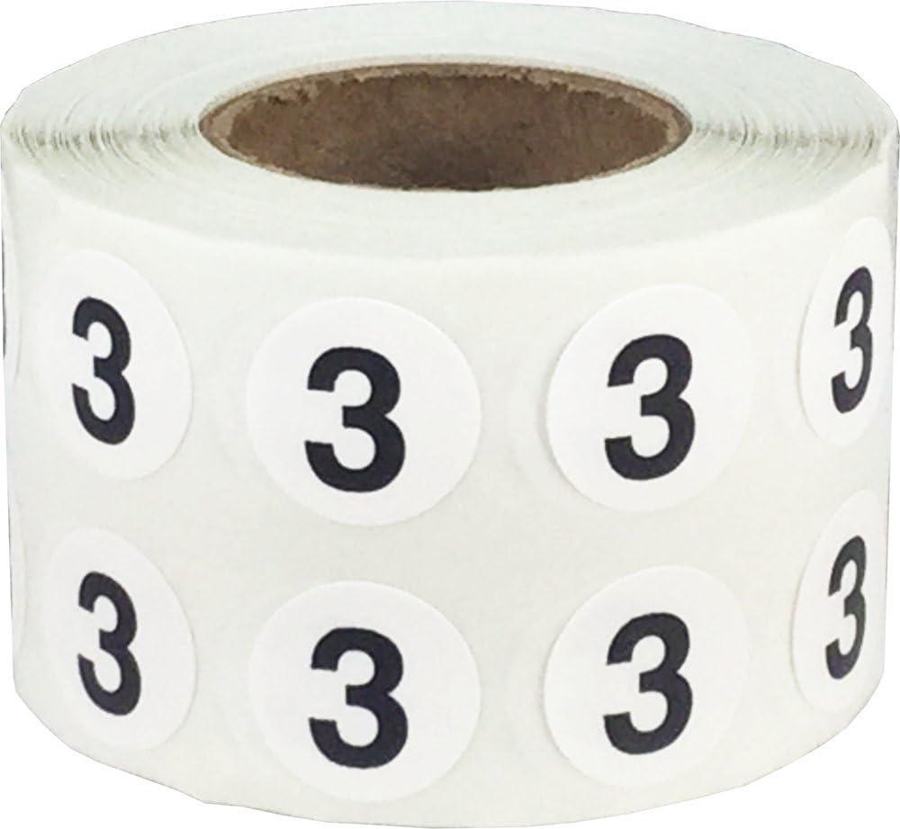 Número 3 Etiquetas Circulares, 13 mm 1/2 Pulgadas Etiquetas de Inventario 1000 Paquete: Amazon.es: Oficina y papelería