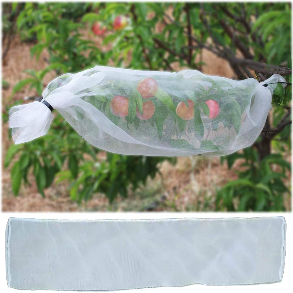 AlllwaySmart Cut Your Own Small or Large Fruit Protection Bags Fruit Tree Sleeves Nylon Mesh Sleeves for Cherries Grapes Apples Peaches Plums Persimmon Cover The Whole Tree Branch 1.3 ft x 32.8 ft