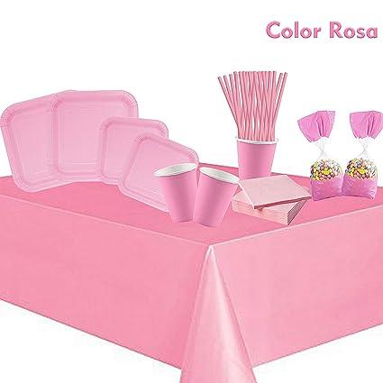 cotigo-Set Vajilla Cumpleaños Kit de Articulo Fiesta para 24 Liso Color Rosa